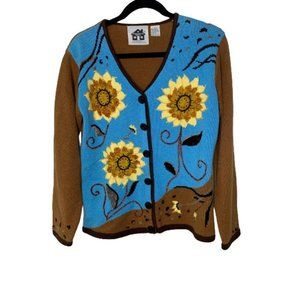 Storybook Knits Blue Brown Button Front Cardigan S